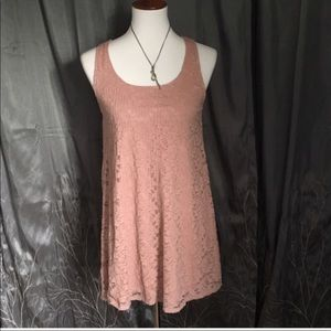 💥Forever 21 pink lace sleeveless shift dress