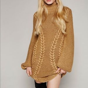 Free People Back to Back Cable Knit Sweater Dress