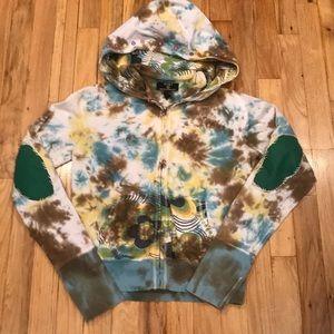 Lucky Brand tie dyed zipper down sweatshirt Sm
