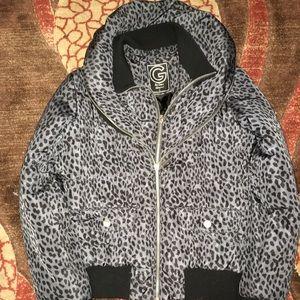 Gusse cheetah print puffy winter jacket