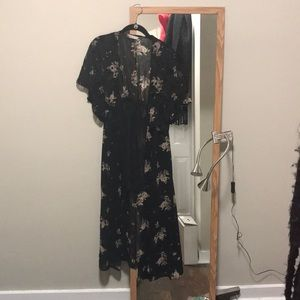Long button down floral sheer cardigan/dress