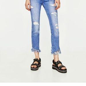 Zara frayed hem jeans