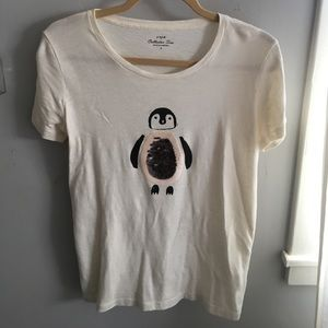 J. Crew Sequin Penguin Collector's Tee Shirt
