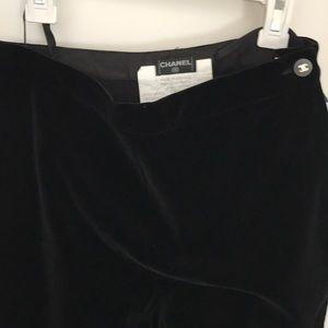 Black velvet authentic Chanel pants