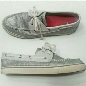 Sperry Silver Glitter Boating Flats Shoes Sneaker