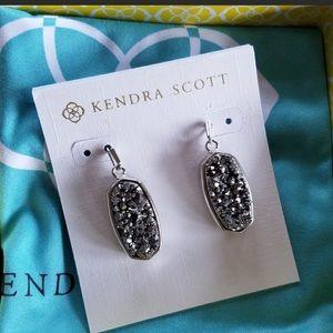 NWT Kendra Scott Silver/Platinum Drusy Earrings