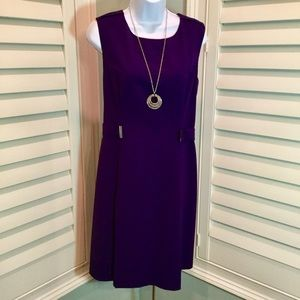 Calvin Klein Pleated Purple Dress, 14, EUC