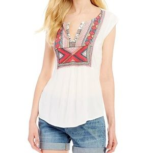 LUCKY BRAND Embroidered Bib Tank Large NEW