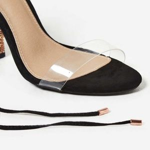 Shoes - ➳ Black/Clear/Gold/Rose Gold Lace Up Perspex Heels