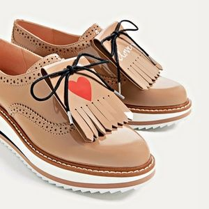 Zara Platform Bluchers Oxfords Sz 9
