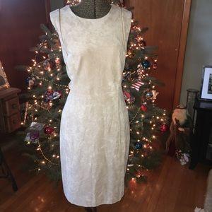 NWT. Calvin Klein Beige Faux-Suede Sheath Dress