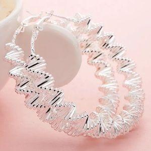 Sterling silver twisted rope earrings