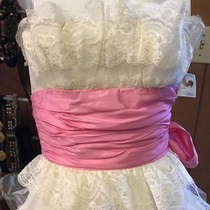 Vintage 90's Betsey Johnson Strapless Tiered Dress