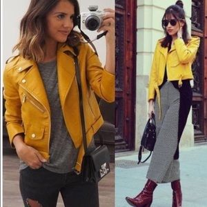 Zara Yellow Leather Jacket