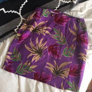 Vintage High Waisted Leaf Pattern Skirt