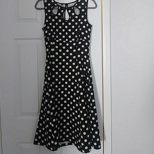Black and white polka dotted banned dress