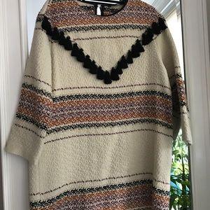 Zara Tribal Wool Dress w/ Fringe