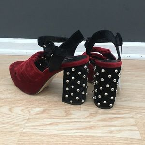 Zara Velvet Red Black Studded Strappy Heels NEW