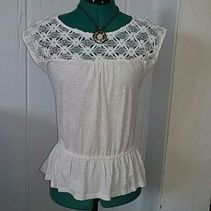 LOFT Crochet Sleeveless Blouse, Size Small