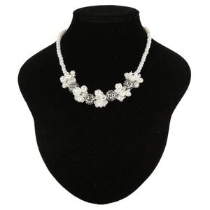 IVORY SILVER Simulated Pearls And Flowers Necklace