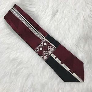 Stafford Silk Tie Wine Black Cream Diamond Print