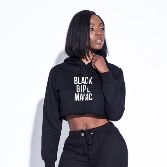 7d7d6c9c995 Tops | Black Girl Magic Crop Top Hoodie | Poshmark