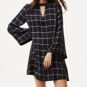 Windowpane Choker LOFT Dress