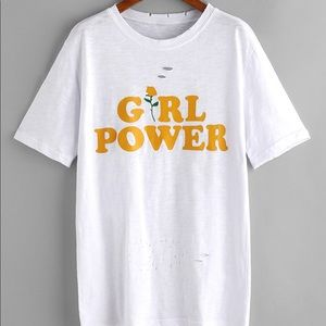 Tops - Girl power distressed tee