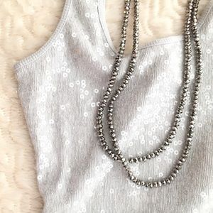 🆕 NWT! ✨ Express sequin tank light grey