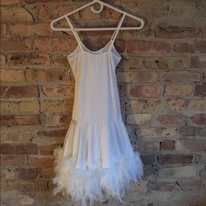 NWOT white feather boa sexy dance dress