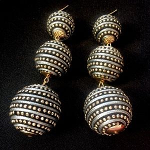 Metal pave ball baubles drop earrings gold black