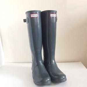 Hunter Original Tall Gloss Rain Boots Gray