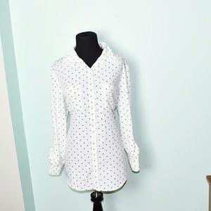 Adorable Polkadot Button Down Flowy Shirt