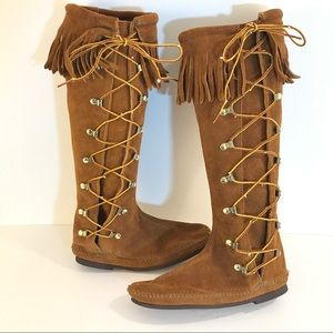 MINNETONKA knee lace Moccasin BOOTS 6 leather