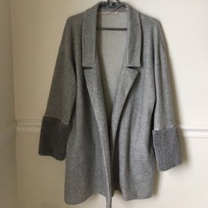 Zara Wool Coat Fur Trim Sleeves