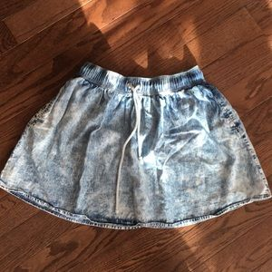 Acid wash, denim skater skirt with drawstring