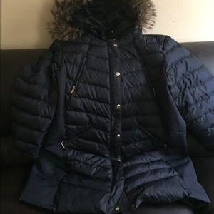 3x MICHALE KORS PUFFER COAT WITH FOX FUR NAVY BLUE