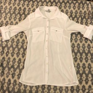 EUC ⭐️ Divided by H&M White Sheer Button-Down