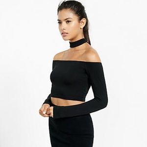 Express off the shoulder crop top with choker