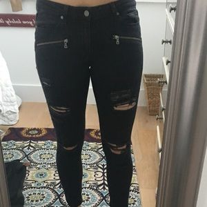 Paige black distressed skinny jeans size 30