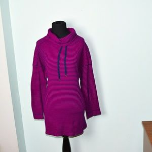 Gorgeous Magenta and Navy Striped Cowl Neck Tunic