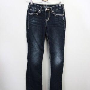 Silver Suki Skinny Jeans Sz 26 Wide Stitch