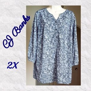 NWOT CJ Banks Tunic Style Blouse • Navy/White 2X