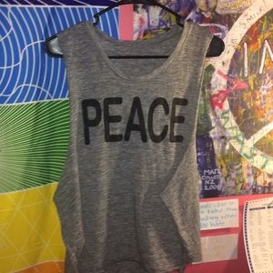 Peace Gray Muscle Shirt