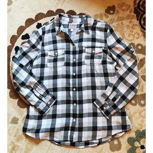Black and White Plaid Flannel Shirt