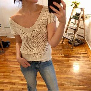 BCBG cream crochet short sleeve blouse