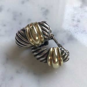 David Yurman Two Tone Shrimp Clip on Earrings