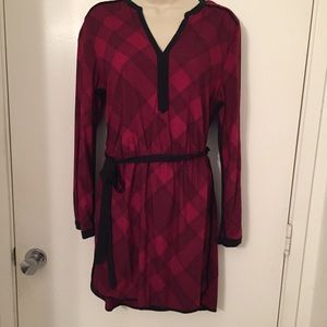 Banana Republic 🌲red plaid shirt dress size 10