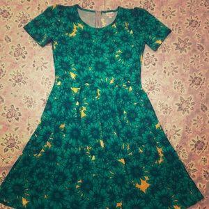 LuLaRoe Green and Yellow dress