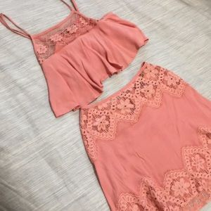For Love And Lemons 2 piece pink lace set